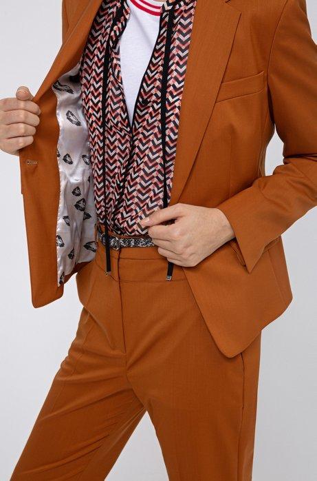 Americana regular fit de lana virgen con forro de la colección, Marrón