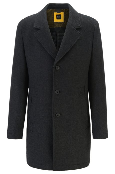 Wool-blend slim-fit coat with pop-colour lining, Black