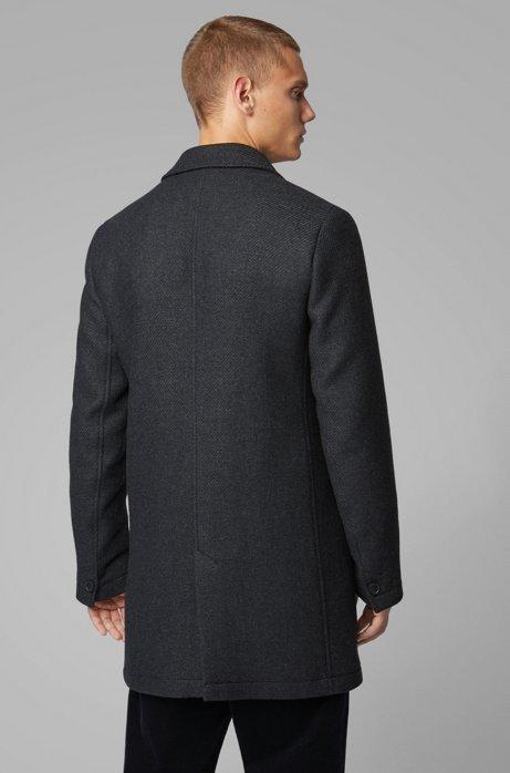 outlet store c7151 beae4 BOSS - Slim-Fit Mantel aus Woll-Mix mit kontrastfarbenem ...