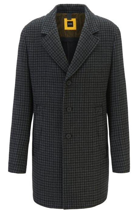 Manteau Slim Fit en laine mélangée à doublure colorée, Gris sombre