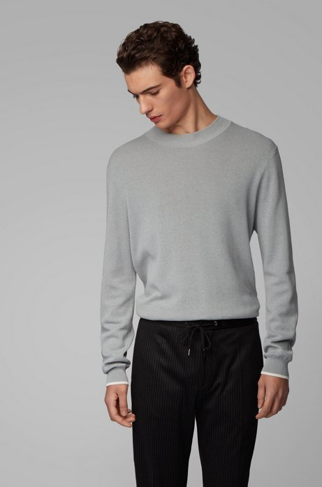 Mock-neck sweater in mouline cotton with contrast details, Light Grey