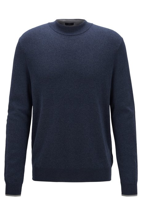 Mock-neck sweater in mouline cotton with contrast details, Open Blue