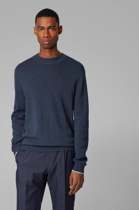 Pullover aus Mouliné-Baumwolle mit Stehkragen und Kontrast-Details, Hellblau
