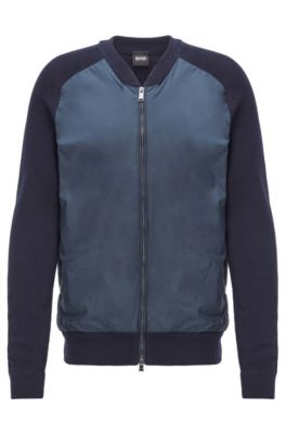 Zip-through jacket with ribbed sleeves and accent details, Dark Blue