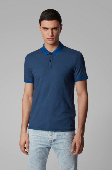 Slub-cotton polo shirt with striped collar and cuffs, Dark Blue