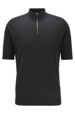 Jersey de manga corta de lana virgen con cremallera en el cuello, Negro