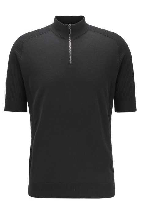 Short-sleeved sweater in virgin wool with zip neck, Black