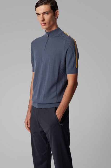 Short-sleeved sweater in virgin wool with zip neck, Dark Blue