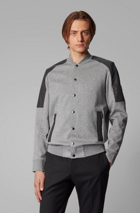 Cotton-blend bomber jacket with college collar, Grey
