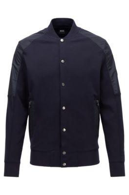 Cotton-blend bomber jacket with college collar, Dark Blue