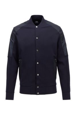 Cotton-blend bomber jacket with college collar, Dark Blue