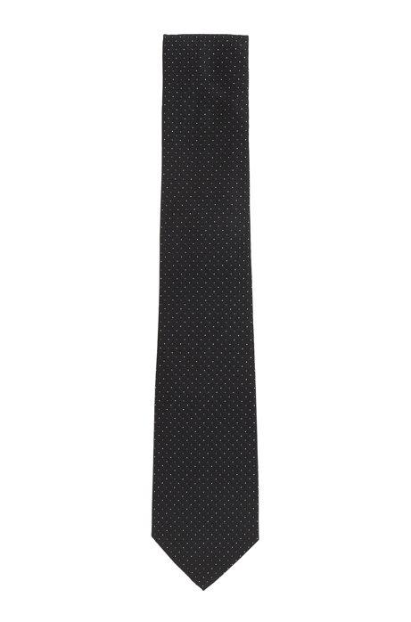 Corbata de seda italiana con micromotivos en jacquard, Negro