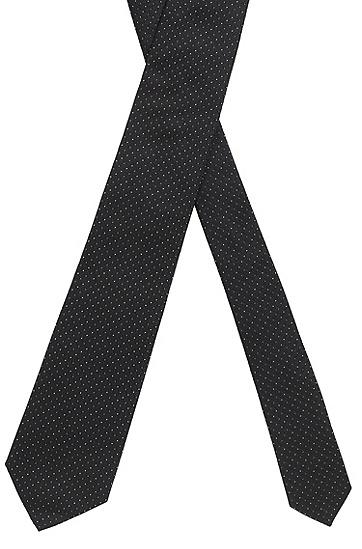 提花微图案意大利真丝领带,  001_黑色