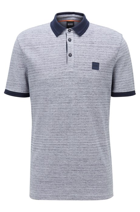 Polo shirt in double-spun two-tone cotton, Blue