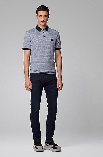 男士双层短纤双色棉 Polo 衬衫,  404_暗蓝色
