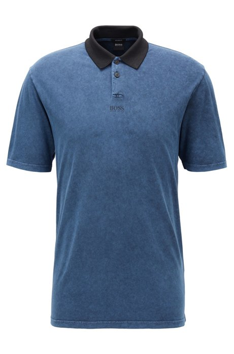 Relaxed-fit polo shirt with acid-wash finish, Dark Blue