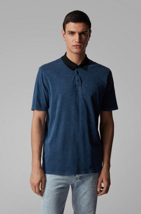 Polo relaxed fit con finitura acid wash, Blu scuro