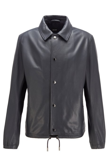 Coach jacket in nappa leather with drawcord, Dark Blue