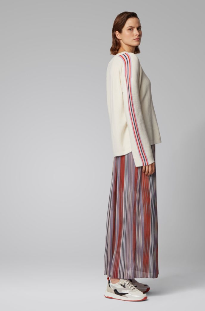 Multi-coloured plissé maxi skirt