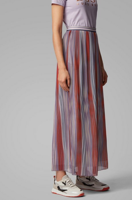 Multi-coloured plissé maxi skirt, Patterned