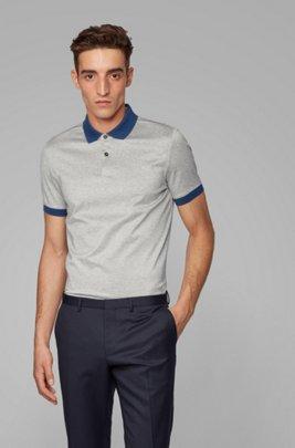 Slim-fit polo shirt with high-shine shoulder stripes, Light Grey