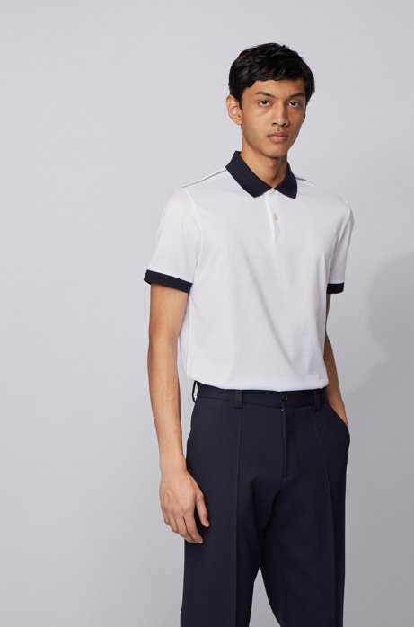 Slim-fit polo shirt with high-shine shoulder stripes, White