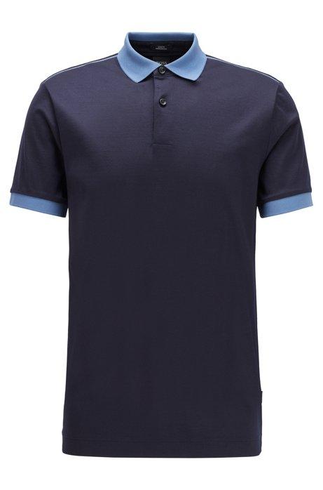 Polo Slim Fit à rayures brillantes sur les épaules, Bleu foncé