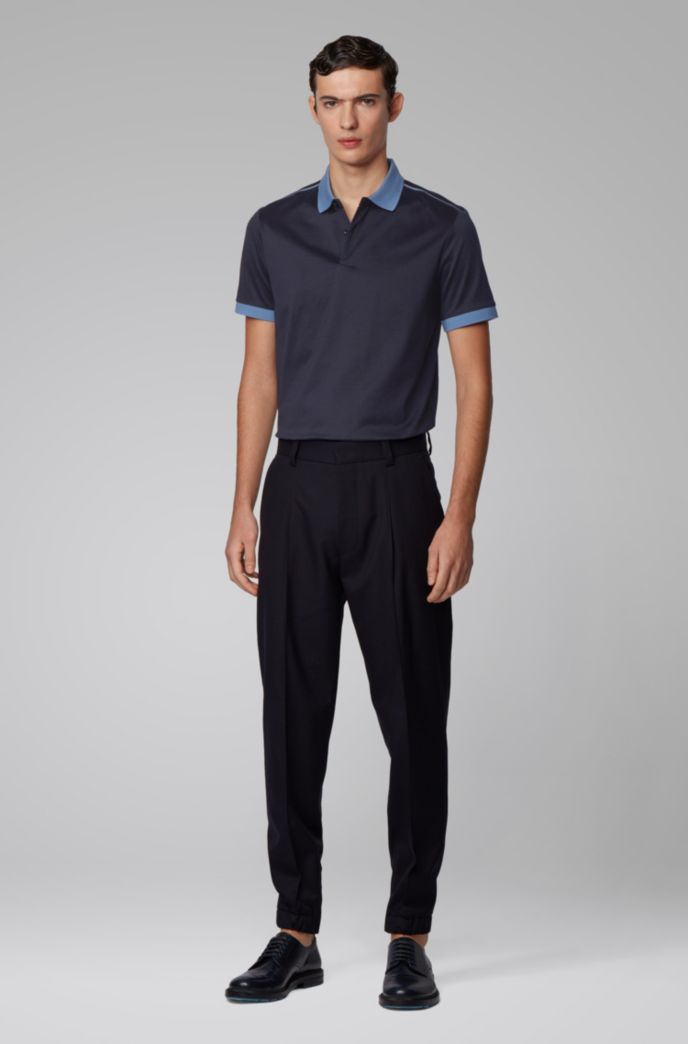 Slim-fit polo shirt with high-shine shoulder stripes