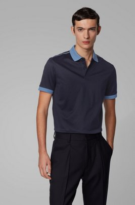 Slim-fit polo shirt with high-shine shoulder stripes, Dark Blue