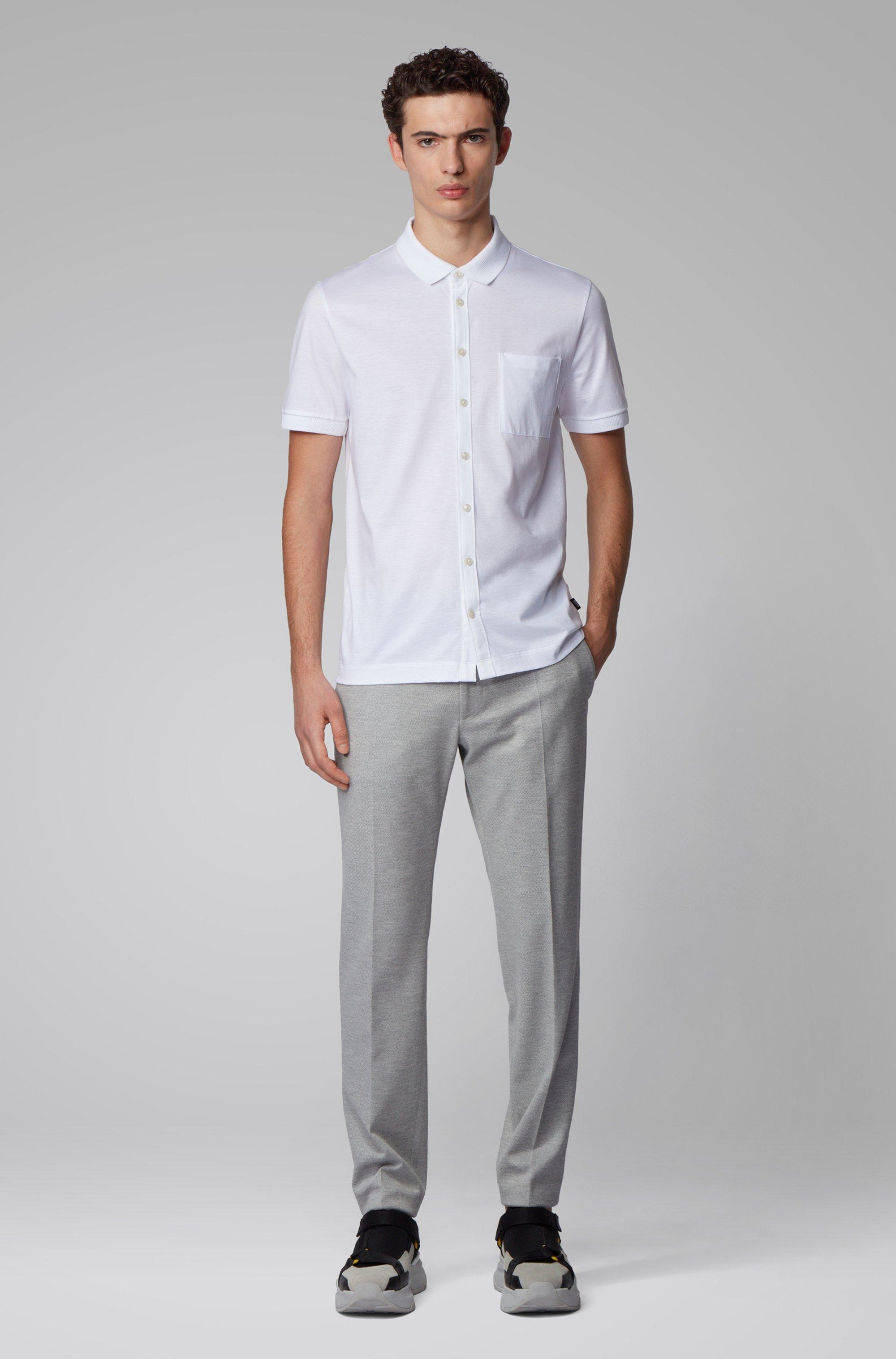 Polo style chemise en coton mercerisé