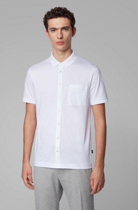 Polo style chemise en coton mercerisé, Blanc