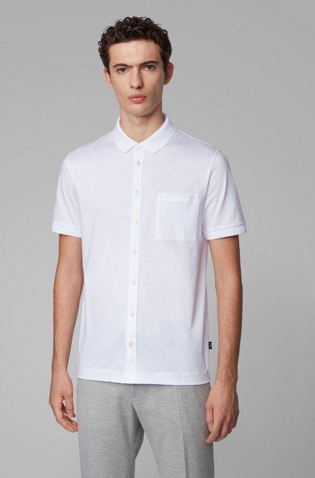 Polohemd aus merzerisierter Baumwolle, Weiß