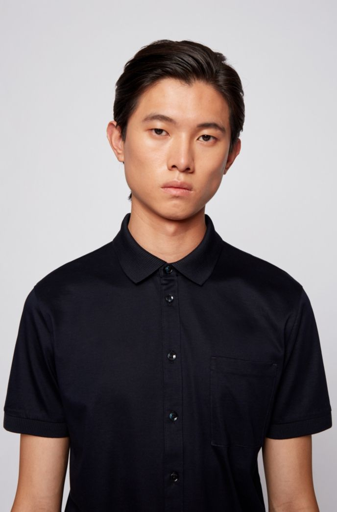 Shirt-style polo top in mercerised cotton