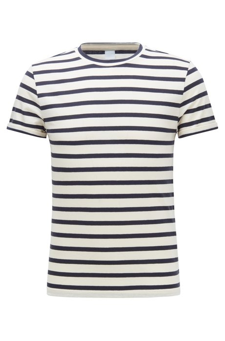 Striped T-shirt in a stretch-cotton blend with linen, Natural