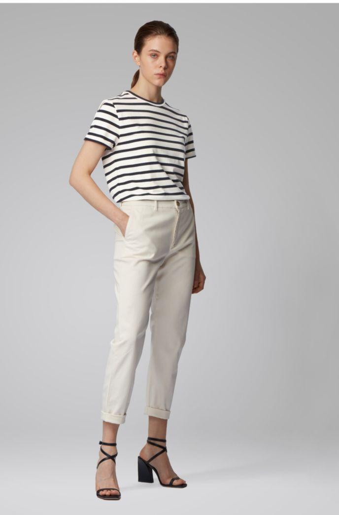 Gestreiftes T-Shirt aus elastischem Baumwoll-Mix mit Leinen