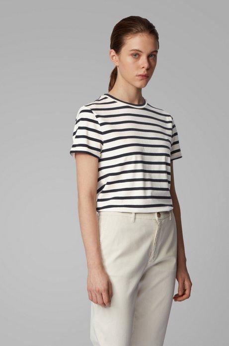 Gestreiftes T-Shirt aus elastischem Baumwoll-Mix mit Leinen, Weiß