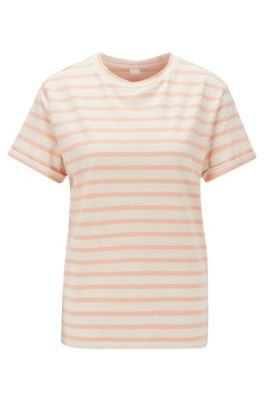 Camiseta a rayas de mezcla de algodón elástico con lino, Naranja claro