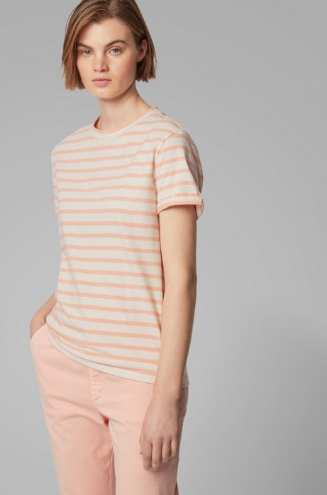 Striped T-shirt in a stretch-cotton blend with linen, Light Orange