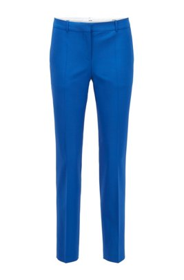 Regular-fit trousers in traceable merino wool with stretch, Light Blue