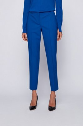 Pantalon Regular Fit en laine mérinos traçable à teneur en stretch, bleu clair
