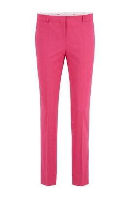 Pantalon Regular Fit en laine mérinos traçable à teneur en stretch, Rose