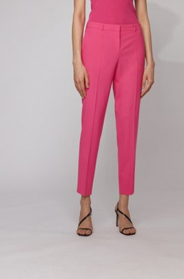 Regular-fit trousers in traceable merino wool with stretch, Pink