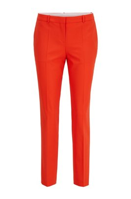 Regular-fit trousers in traceable merino wool with stretch, Orange