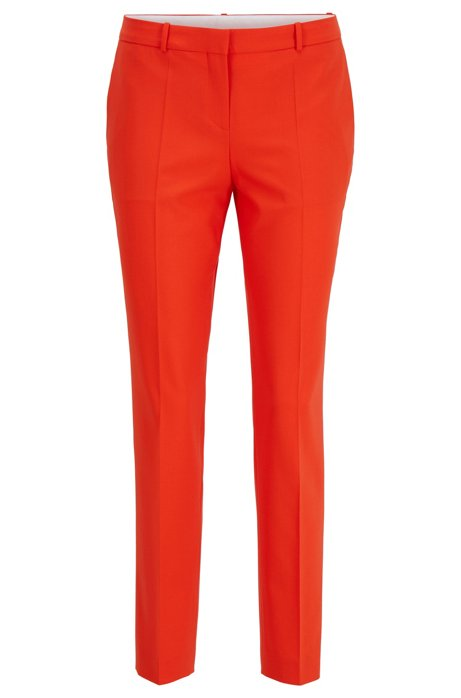 Pantaloni regular fit in lana merino tracciabile con tessuto elasticizzato, Arancione