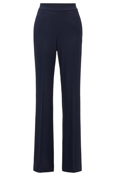 Relaxed-fit trousers with high-rise waistband, Dark Blue