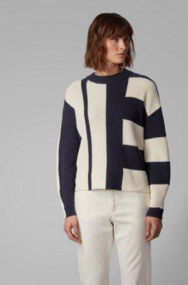 Relaxed-fit trui van katoen met zijde in blokkleuren, Lichtblauw