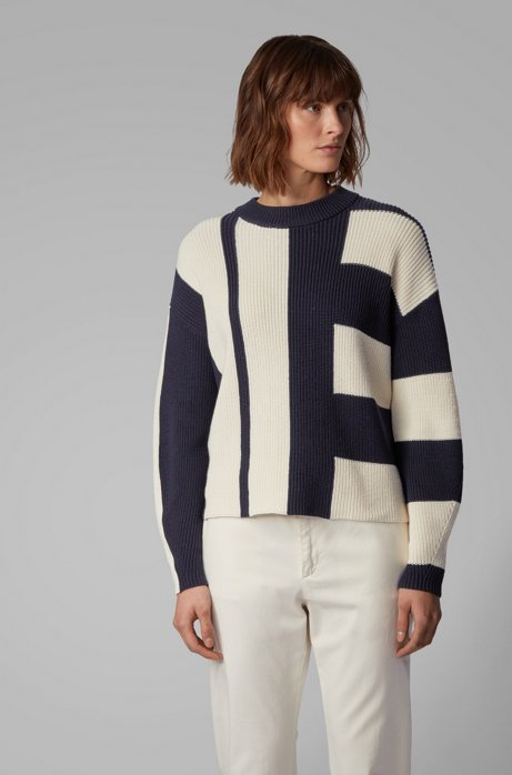 Pull Relaxed Fit en coton color block avec de la soie, Bleu vif
