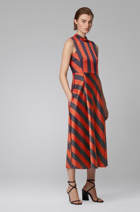 Maxi dress with block stripe, Patterned