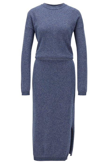 Crew-neck knitted dress in mouliné cotton, Open Blue