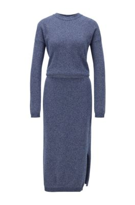 Crew-neck knitted dress in mouliné cotton, Light Blue